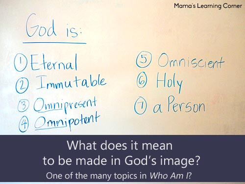 Learning the attributes of God - one of the many activities in Apologia's Who Am I?