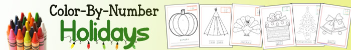 Color By Number Holidays ebook - 55 pages of Thanksgiving and Christmas-themed coloring pages!