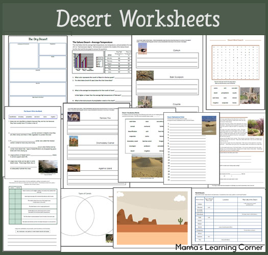 Desert Worksheets for 1st-3rd Graders: definitions, Major deserts of the world, fill-in-the-blank, desert animals, reading comprehension, and more!