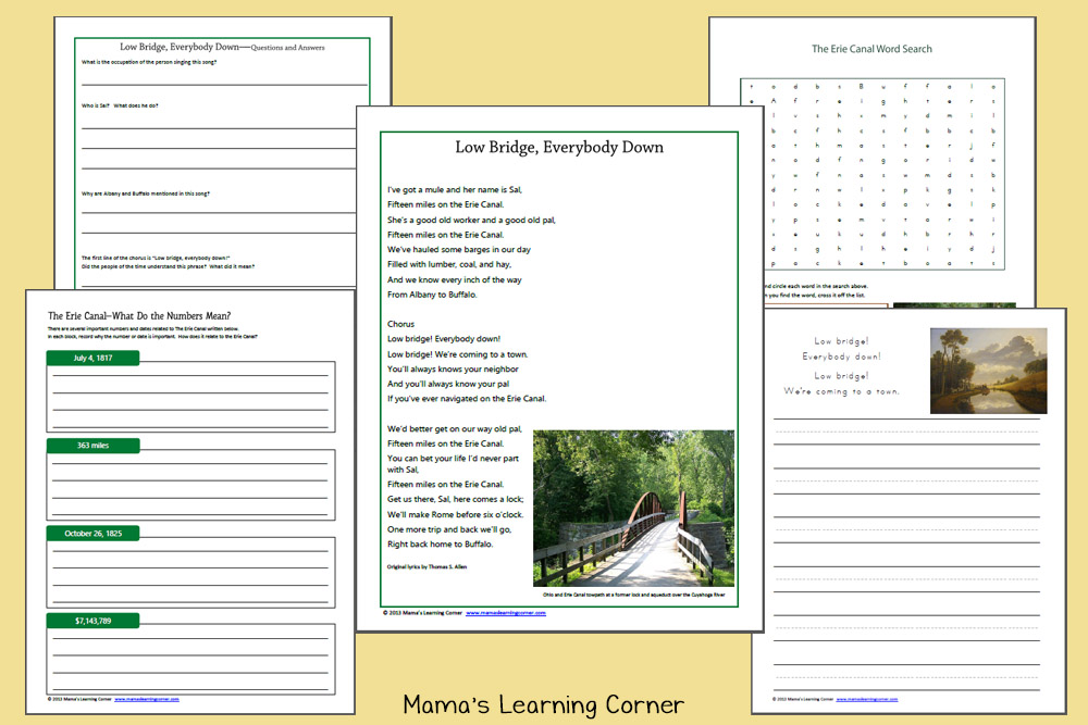 Erie Canal Worksheets