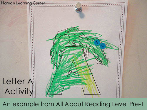 An example from All About Reading Pre Level 1 - Letter A