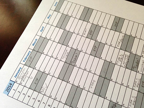 Free Printable Homeschool Attendance Record for 2014