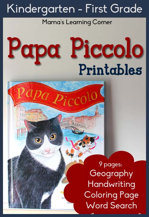 9-page set of Papa Piccolo Printables for Kindergarten-First Grade