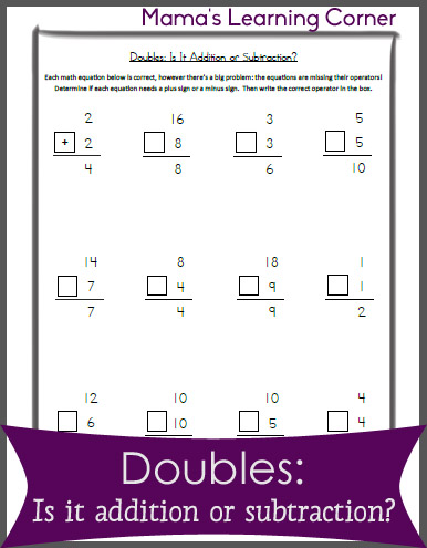 Free Worksheet: Doubles -  Is it addition or subtraction?