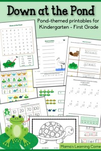 Down at the Pond Worksheet Packet for Kindergarten and First Grade