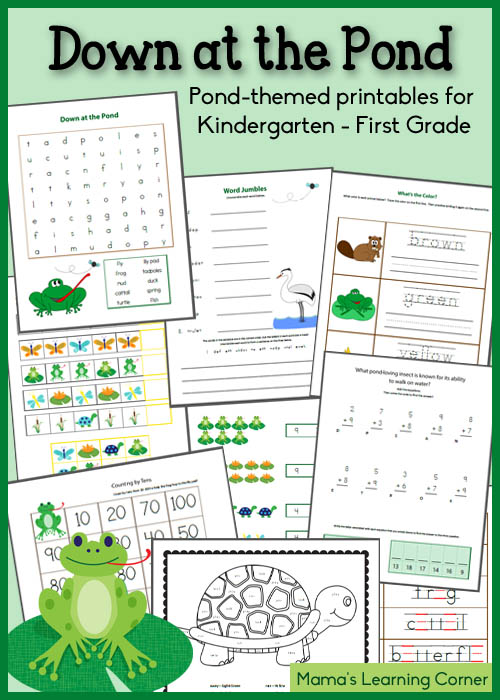 Down at the Pond - Free Worksheet Packet for K-1st Grade