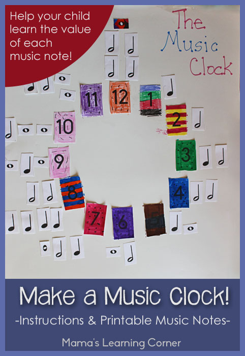 Make a Music Clock!  Includes instructions and free printable music notes.