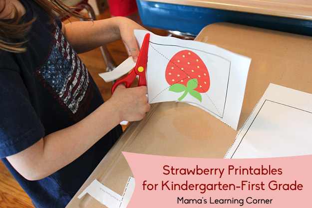 Free Strawberry Cutting Practice Worksheets for Preschool-First Grade