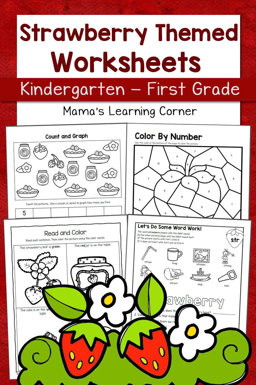 medium resolution of Strawberry Worksheets for Kindergarten and First Grade - Mamas Learning  Corner