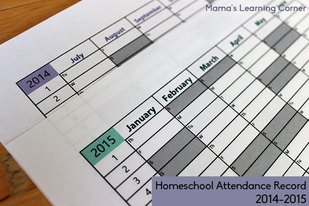 Free Printable Homeschol Attendance Record 2014-2015