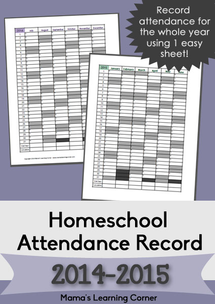 Homeschool Attendance Record 2014-2015
