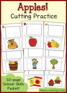 Free Cutting Practice Worksheets: Apples!
