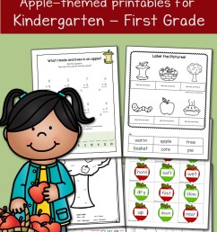 Apple Worksheets for Kindergarten and First Grade - Mamas Learning Corner [ 1500 x 1000 Pixel ]