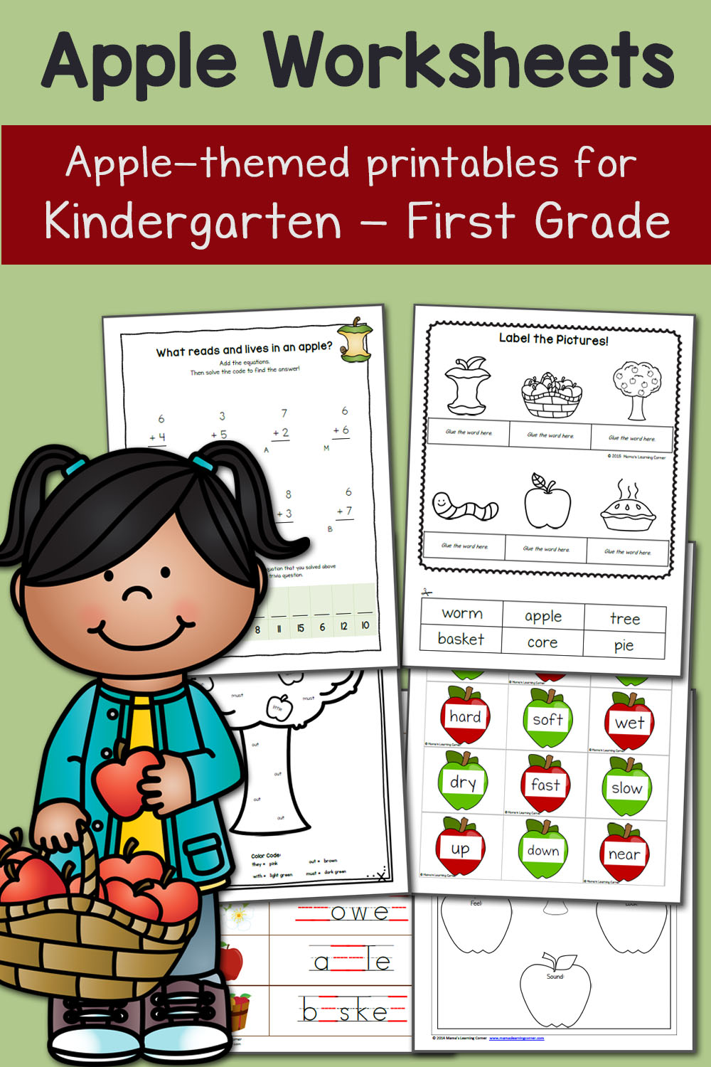 hight resolution of Apple Worksheets for Kindergarten and First Grade - Mamas Learning Corner