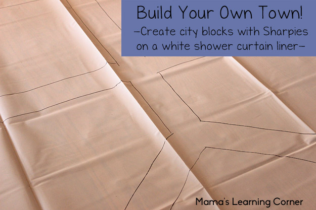 Build Your Own Town - Using a shower curtain, Sharpie, and Mama's Free Printables!