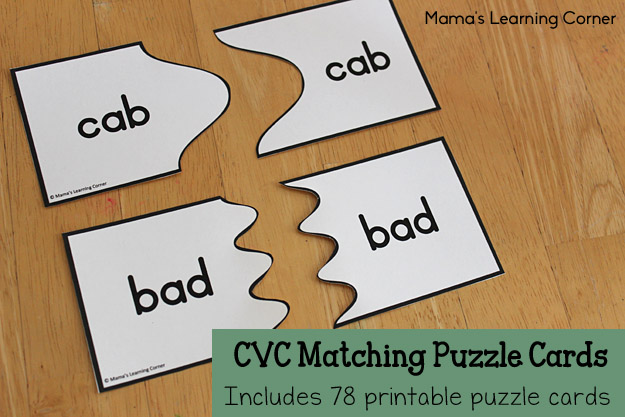 CVC Matching Puzzle Cards: 78 Printable Cards