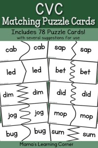 CVC Matching Puzzle Cards