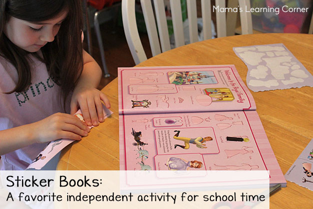 Sticker Books: A favorite independent activity for my younger children during school time