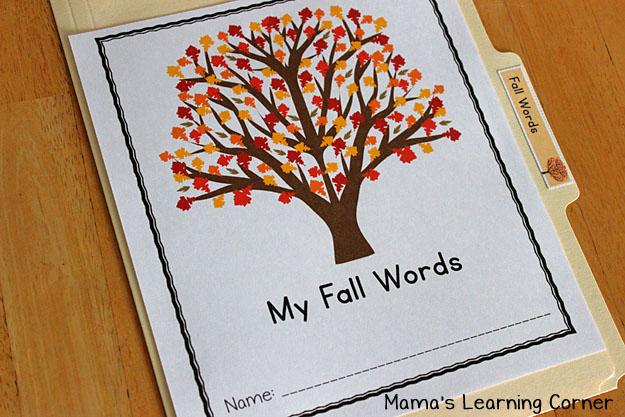 File Folder Fall Word Wall