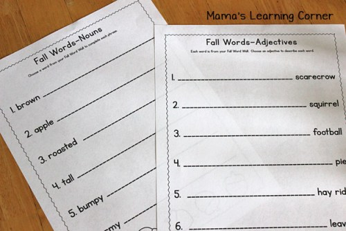 Fall Word Wall: Worksheet Pages