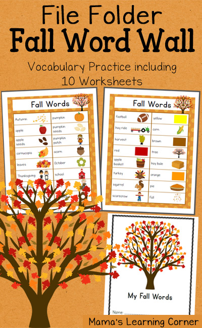 File Folder Fall Word Wall: Includes 10 worksheets for vocabulary practice
