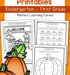 Pumpkin Worksheets for Kindergarten and First Grade - Mamas Learning Corner [ 1500 x 1000 Pixel ]