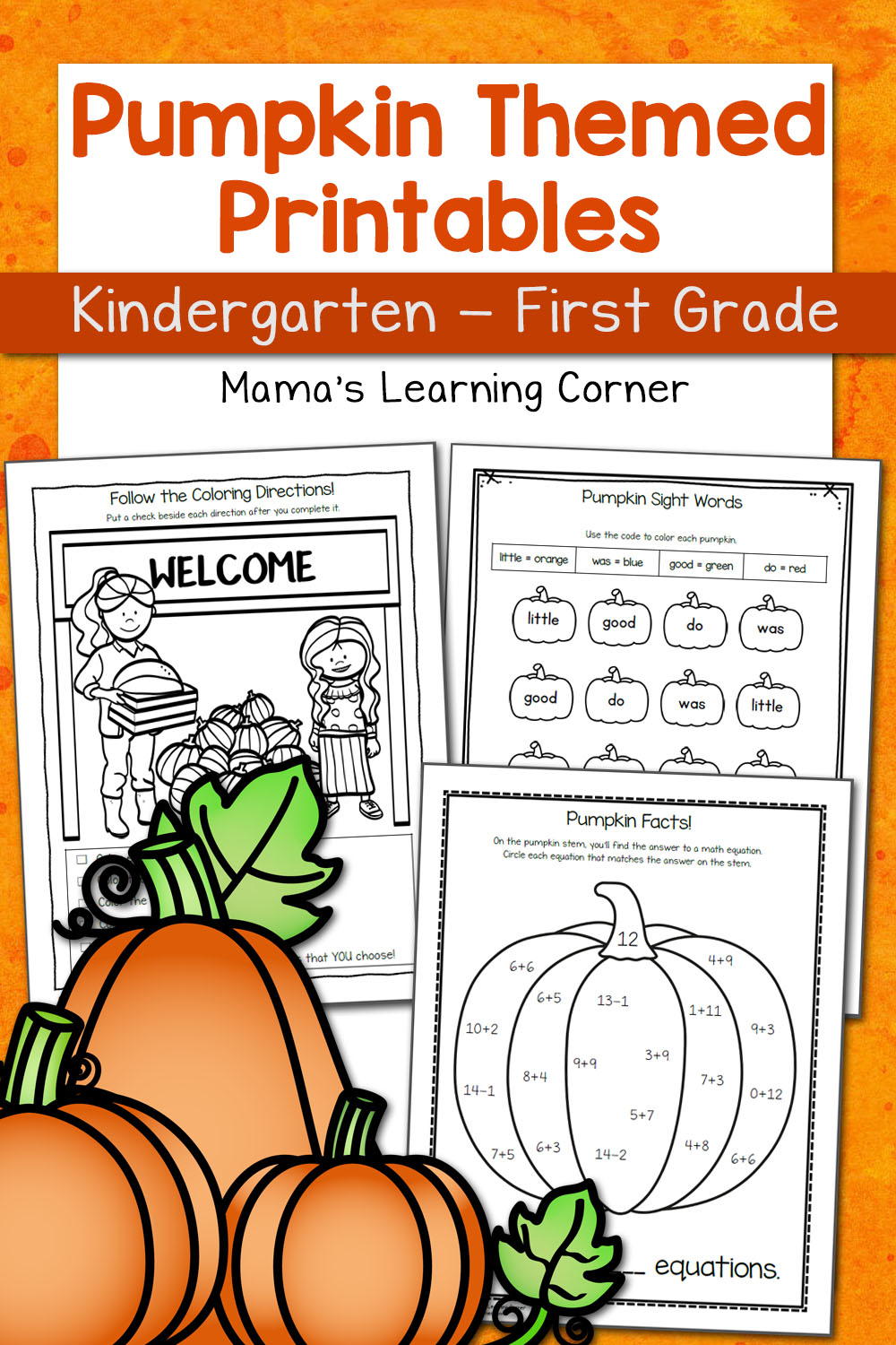 medium resolution of Pumpkin Worksheets for Kindergarten and First Grade - Mamas Learning Corner