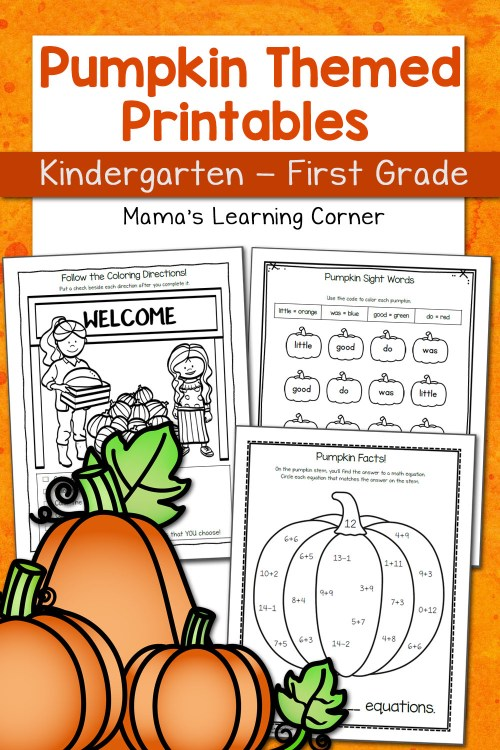 small resolution of Pumpkin Worksheets for Kindergarten and First Grade - Mamas Learning Corner