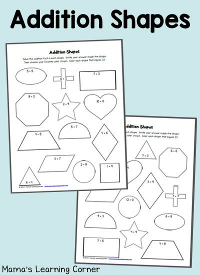Addition Shapes: free worksheets to practice math facts!