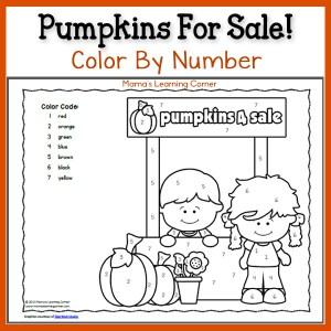 Free Color By Number: Pumpkins!
