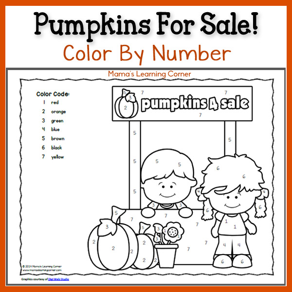 Free Color By Number: Pumpkins!