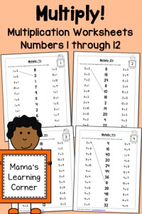 Multiplication Worksheets: Numbers 1 through 12