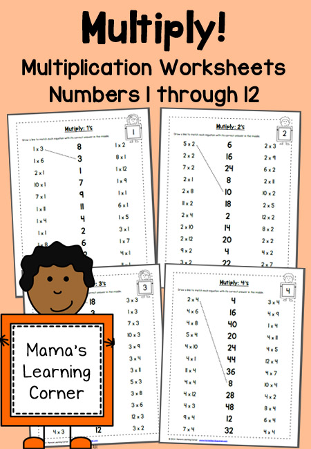 Multiplication Worksheets- Numbers 1 through 12