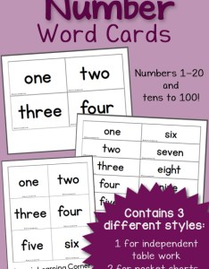 Free printable number word cards includes and tens to also mamas learning corner rh mamaslearningcorner