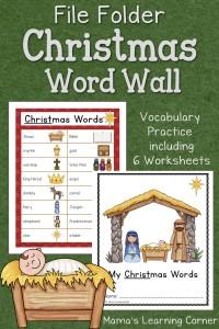 Christmas FIle Folder Word Wall: Free Printable