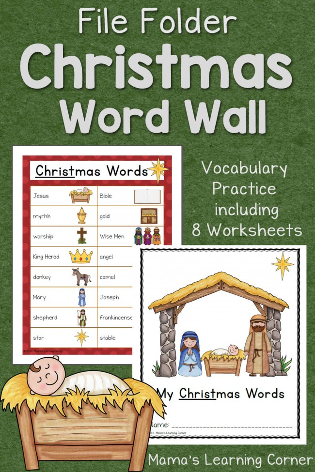 Christmas File Folder Word Wall - includes vocabulary list focusing on the Birth of Christ