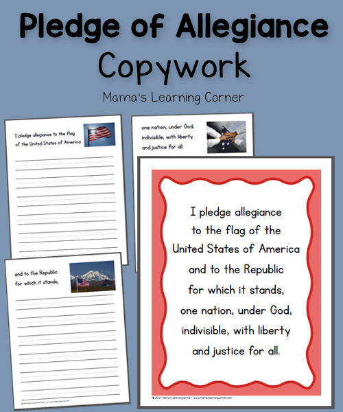 picture relating to Pledge of Allegiance Words Printable called Pledge of Allegiance Copywork - Mamas Understanding Corner