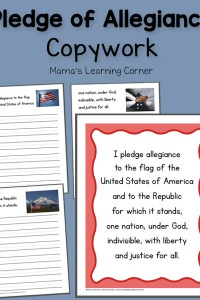 Pledge of Allegiance Copywork