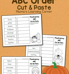 Thanksgiving ABC Order: Cut and Paste Worksheets - Mamas Learning Corner [ 1500 x 1000 Pixel ]