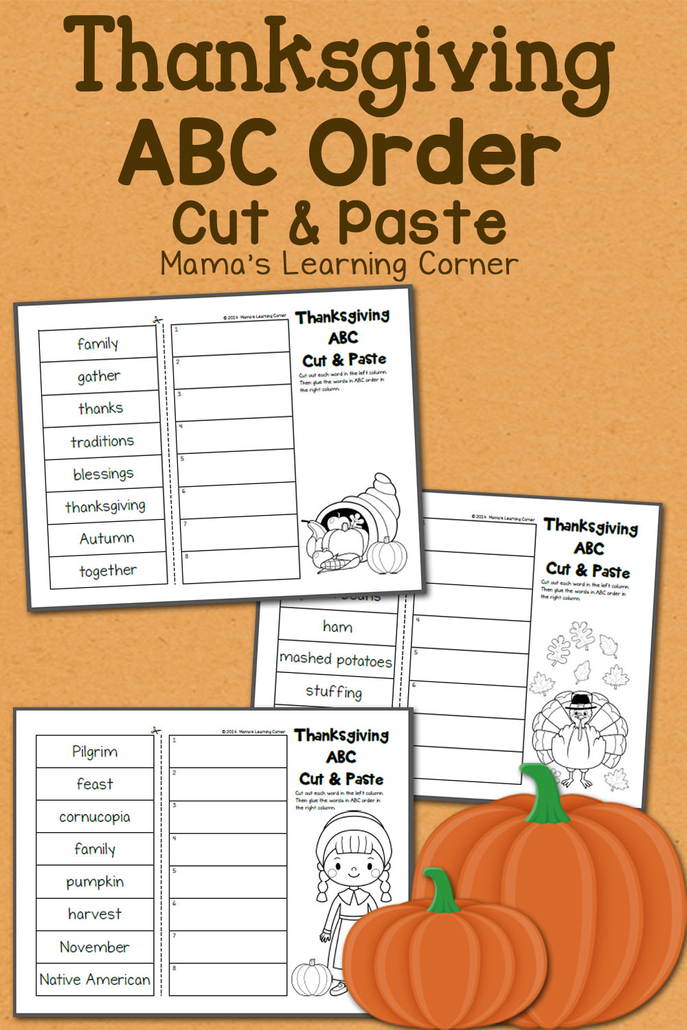 medium resolution of Thanksgiving ABC Order: Cut and Paste Worksheets - Mamas Learning Corner