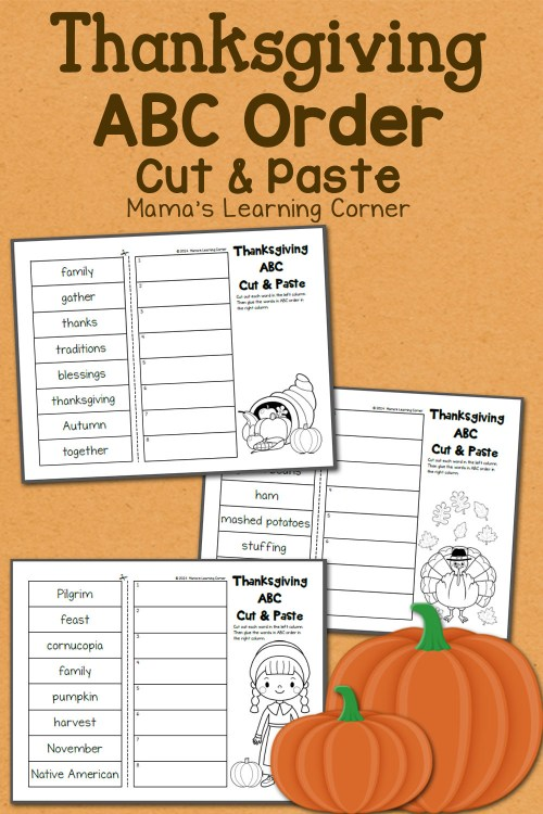 small resolution of Thanksgiving ABC Order: Cut and Paste Worksheets - Mamas Learning Corner