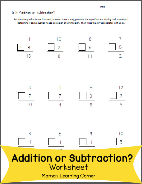Is it Addition or Subtraction Worksheet