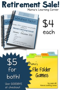 RETIREMENT SALE: Worksheet Packet and File Folder Games!