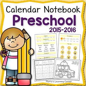 Calendar Notebook Preschool 2015 2016 8x8