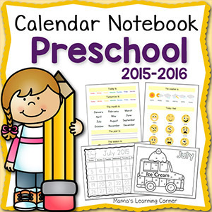 Calendar Notebook Preschool 2015 2016 8x8