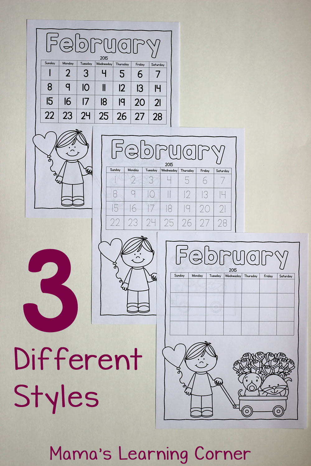 Color Your Own Calendar: 3 Different Styles