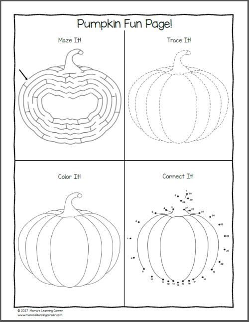 Pumpkin Worksheets for K and 1st