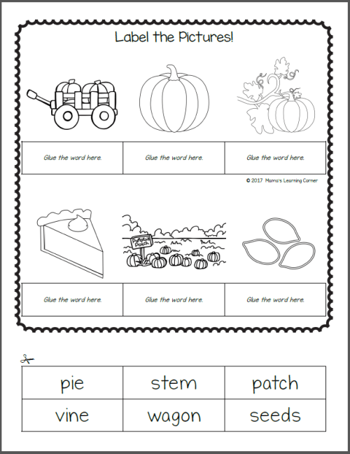 Pumpkin Worksheets for K and 1st