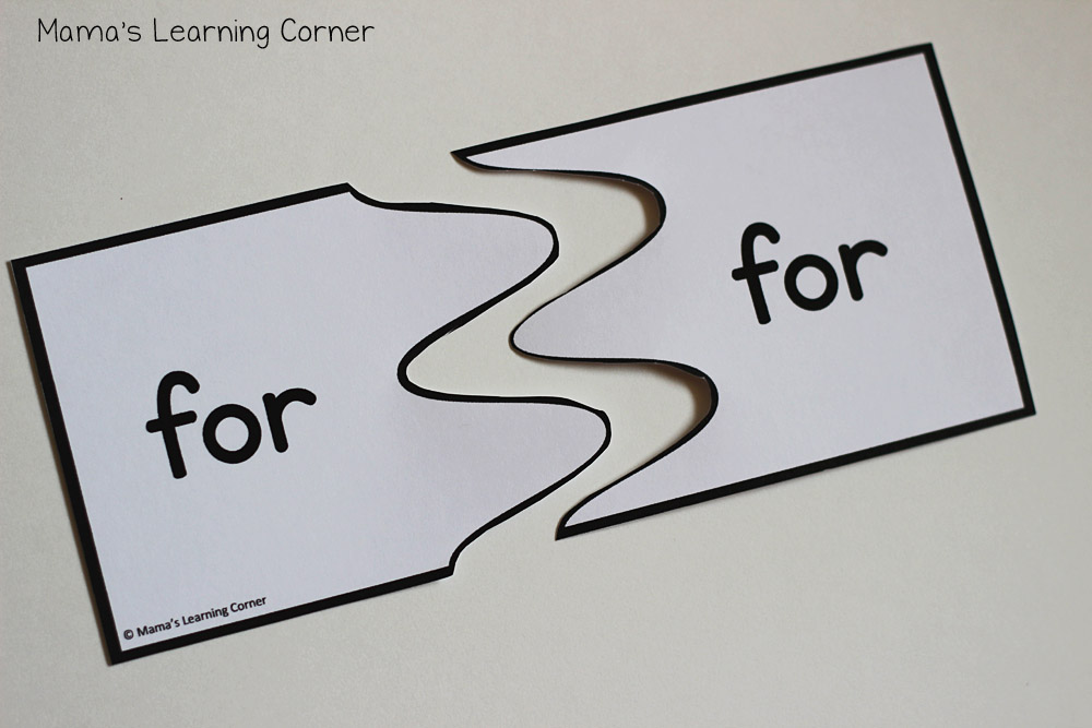 Sight Words Pre-Primer: Puzzle Cards