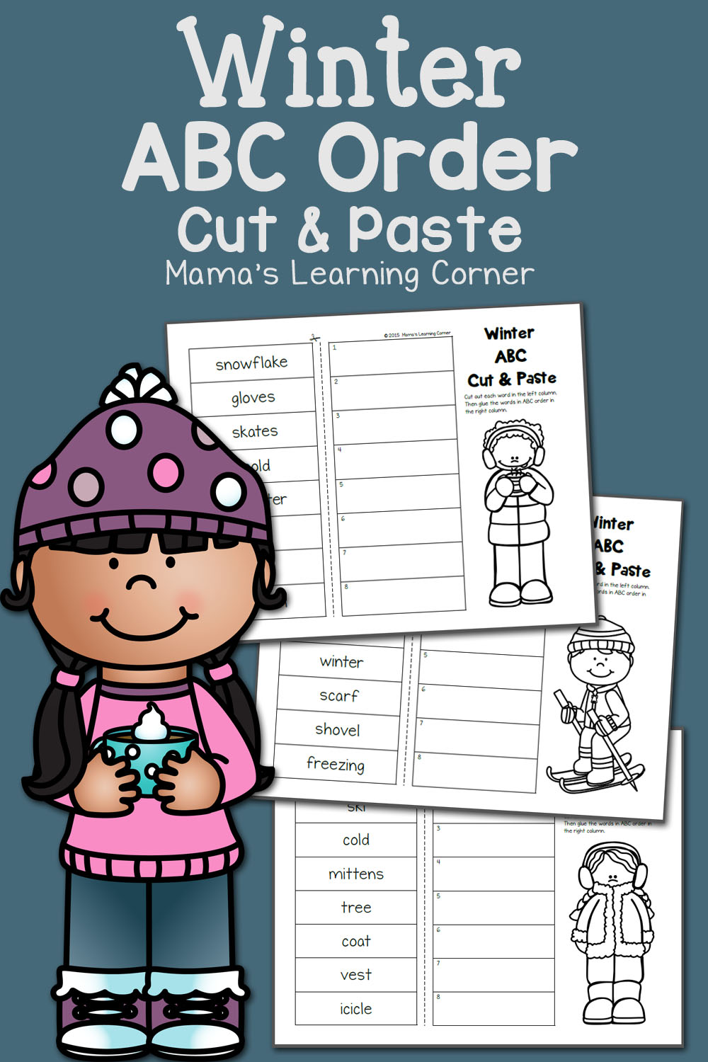 medium resolution of Winter Cut and Paste: ABC Order - Mamas Learning Corner